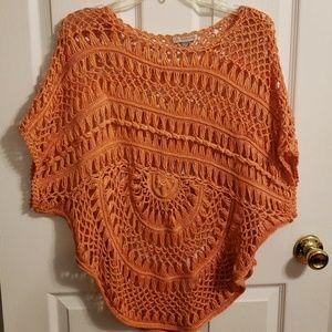 peach knit top 1x nwot